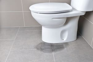 commercial building leaking toilet pipe restoration
